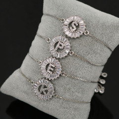 BC1163 Hot Sale Bling Jewelry Crystal Silver Plated Micro Pave Cz Zircon Alphabet Initial Letter Charm Bracelet with Slide Chain