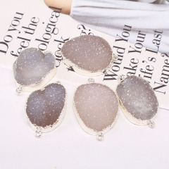 JF8294 High Quality Sparkly Silver Plated Natural Agate Druzy Connectors for Bracelet making