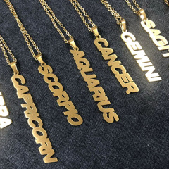 NS1085 Star Constell IP Gold Plated Stainless Steel Horoscope Zodiac Sign Vertical Bar Pendant Necklace