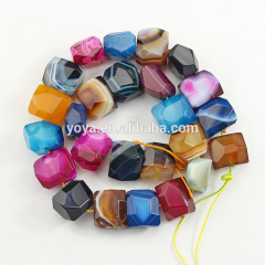 AB0631 Natural multicolor striped agate faceted nugget beads,mixed agate stone nugget beads