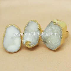 RG1063 Wholesale 14K Gold Plated white Color Natural Druzy Ring