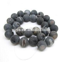 AB0263 Hot sale black matte drusy druzy agate geode beads ,raw beads