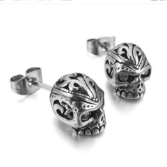 ES1023 High Quality Gothic Stainless Steel Red Clear Black Crystal Eye Skull Stud Earrings