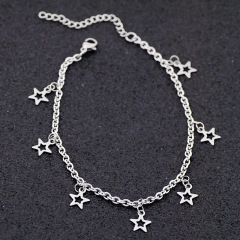 AC1002 Chic Dainty Beach Foot Jewelry Stainless Steel Chain with Star Charm Ankle Bracelet Anklets for Women Girls