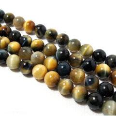 TE3007 Grey & yellow tiger eye round beads
