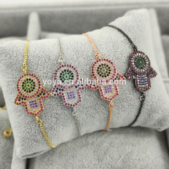 BRZ1377 Wholesale cz micro pave hamsa hand charm adjustable bracelet with chains