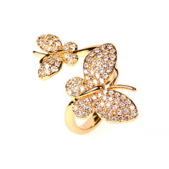 RM1130 Chic 18k Gold Plated Bling Crystal Butterfly Finger Rings for ladies,Diamond Zircon CZ Micro Paved Leaf Rings for  women