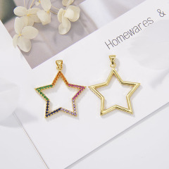 CZ8179 Hot Sale Colorful Gold Plated Star Charms Pendant,Thin Small Cubic Zirconia Pendant