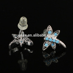 EC1077 Wholesale CZ micro pave dragonfly earring,Cubic zirconia studs earring