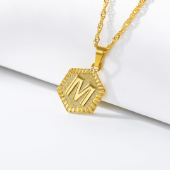 Foot Jewelry Gift Gold Plated Stainless Steel Hexagonal Medal Name Capital Alphabet Letter Initial Ankle Bracelets Anklets
