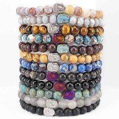 BN5183 Natural stone buddha head bracelet women's and men's beaded stretch stone bracelet