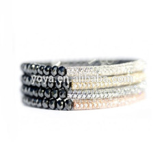 BRB1062Fashion hematite beaded crystal pave bar Bracelets
