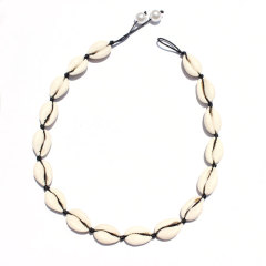 NN1016 White Shell Multicolor Clay Heishi Necklace, Polymer Clay Heishi Beads Summer Choker Necklace with Cowry Shell Charm