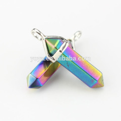 JF2251#60 Wholesale Rainbow Plated Natural Stone Point Pendants,Chakra Hexagonal Pendant