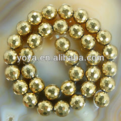 HB3012 Gold Golden Faceted Round Hematite Beads