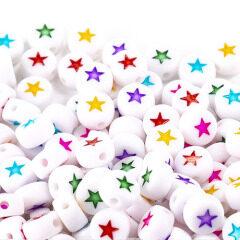 GP0943 Popular White  Flat plastic acrylic 4*7mm 500g Rainbow Enamel Star round disc beads for jewelry DIY