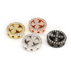 CZ7337 Wholesale CZ micro pave cross disc beads,Cubic zirconia spacer beads