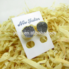 EA3202 2014 Fashion natural agate colour druzy stud earring,gold plated druzy post earring
