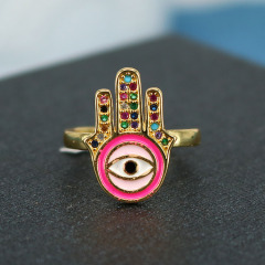 Popular Chic Rainbow Enameled Hamsa Hand CZ Micro Pave Finger Rings for women