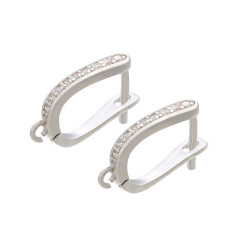 CZ7975  Fashion Diamond Gold Silver Black LatchBack Earring, CZ Micro Leverback Earring Hooks