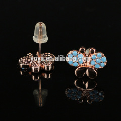 EC1072 Fashion CZ pave micro pave butterfly shape earring,Cubic zirconia studs earring