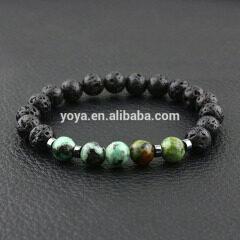 BN1076 Natural gemstone africa turquoise lava elastic mosquito repellent bracelet , stone bead essential oil ladies bracelet