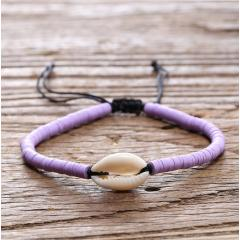 BE1001 Fashion Silver Gold Plated Cowire Shell with Polymer Clay Heishi Bead Adjustable Bracelets