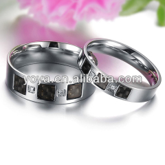 wide 6mm 3mm lovers carbon fiber shinning crystal drill stainless steel ring