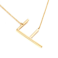 NS1084 Unisex Big 18k Gold Plated Stainless Steel 26 Alphabet Letter Charm Pendant Necklaces Large A-Z Initial jewelry for Women