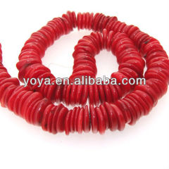 CB8014 Natural coral heishi beads