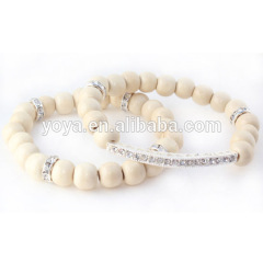 BRB1041 Wood beads bar bracelet,wood beads bracelet with bar