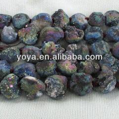 AB0331 Newest Titanium Plated Raw Agate Druzy Freeform Nugget Beads