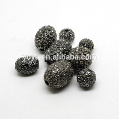 CP5077 Round And Oval Crystal and Gunmetal Alloy Pave Hematite Rhinestone Bead