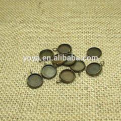 JF8345 Antique bronze round bezel blank pendant charm setting,round cabochons base setting