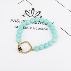 BN2044 2020 Chic Gemstone Beaded Bracelet with CZ Lock,Diamond CZ Micro Pave Carabiner Clasp Buckle Lock Bracelet for women