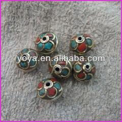 NB1205 Fashion tibetan turquoise and coral inlaid nepal beads