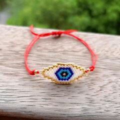 BG1027 Chic Loom Miyuki Seed Beads Bracelet Good Luck Evil Turkish Eye Adjustable Amulet Charm Red Cord Bracelet
