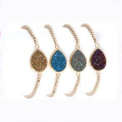 BRH1212 Trendy Natural Teardrop Druzy Bracelet Jewelry,Tiny Pyrite Beaded Bracelets With Pear Druzy