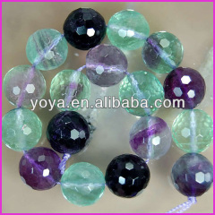 SB6305 Natural Round Faceted Fluorite Beads