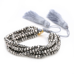 BG1017 Bohemia Boho Crystal Glass Beaded Multi Layer Bracelet with Tassels