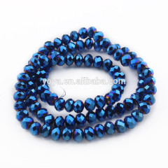 CR0517 Cheap Chinese Metallic Indigo Blue plated faceted crystal glass abacus beads