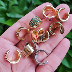 EC1660 fashion cubic zircon cuff copper clips earrings high quality brass with CZ clips on earring for women
