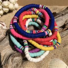 BP1011 Trial Jewellery Multicolor Bohemian Elastic Heishi Beads Bracelets, African Vinyl Polymer Filo Clay Disc Beads Bracelets