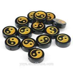 AB0681 Black Agate Stone Gold Painted Yin Yang Beads