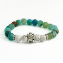 BAA1704 Fashion Sea Turtle Bracelet with Blue Matte Agate & Howlite Stone Beads