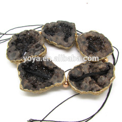 AB0405 New style gold electroplated coffee chunky druzy beads