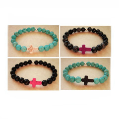 BR0028 Elastic Cross Bracelet,Beaded Cross Bracelet