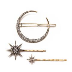 H1024 Antique Bronze Crystal Pave Crescent Moon Starburst Brass Barrette Hair Clips Bobby Pins