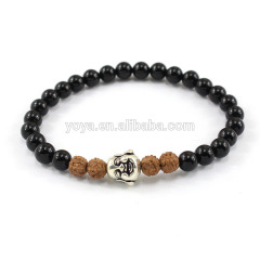 SS1625 China supplier unique onyx beads with 925 sterling sliver buddha head bracelet jewelry