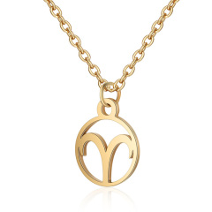 NS1053 Popular High Quality Gold Plated Stainless Steel Zodiac Charm Jewelry Necklace